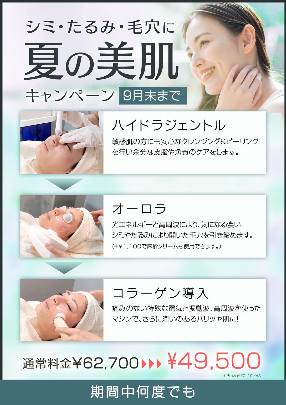 敏感肌の方にも安心なクレンジング&ピーリングを行い余分な皮脂や角質のケアする「ハイドラジェントル」と、 光エネルギーと高周波により、気になる濃いシミやたるみにより開いた毛穴を引き締める「」(+¥1,100で麻酔クリームも使用できます。)、 痛みのない特殊な電気と振動波、高周波を使ったマシンで、さらに潤いのあるハリツヤ肌になる「コラーゲン導入 」の組み合わせで、シミ・たるみ・毛穴を改善し、ウル艶肌へと仕上げます。 </p>